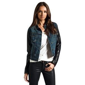 Rag and Bone Jean jacket with leather sleeves